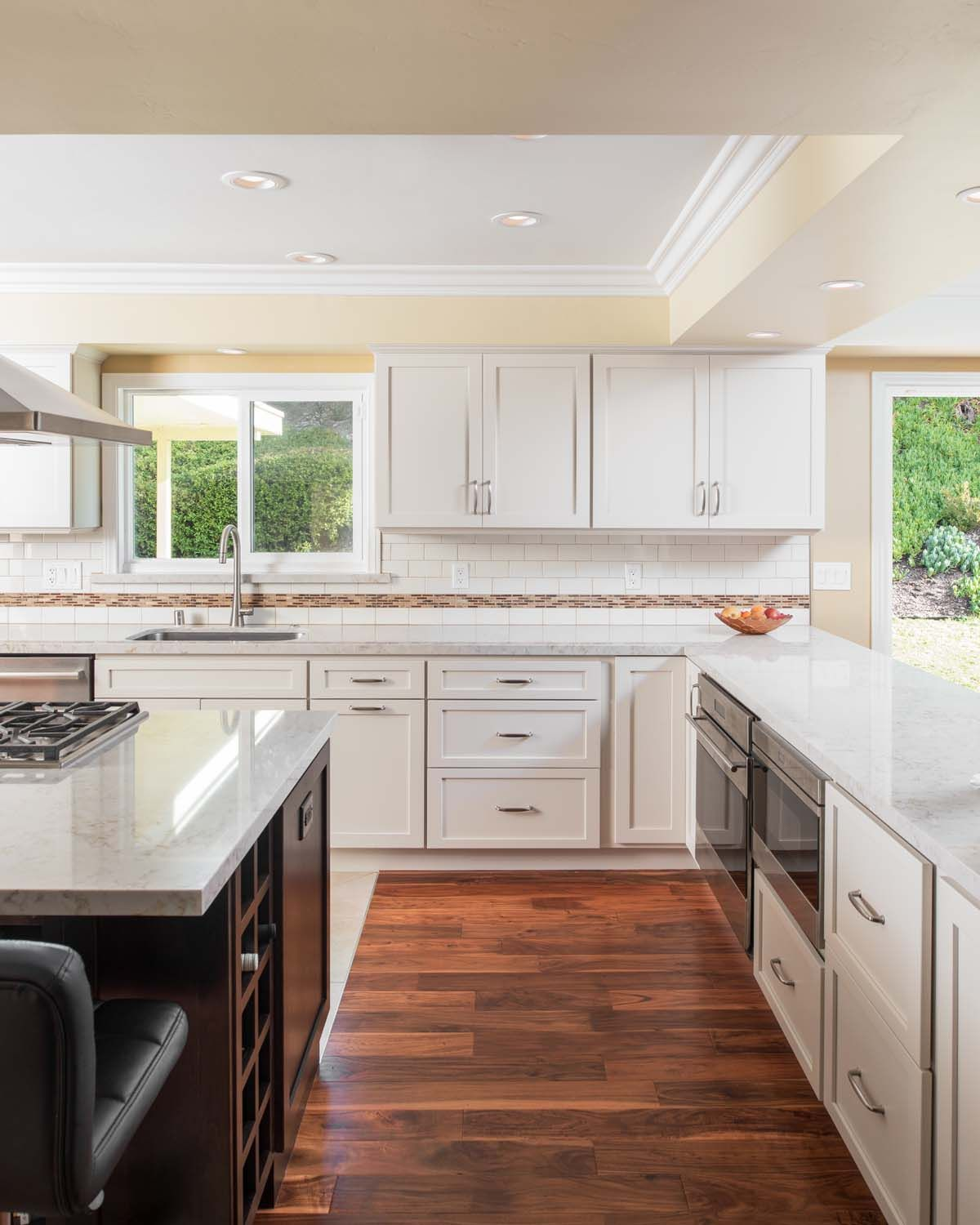 White Shaker Cabinets Espresso Island With Microwave In