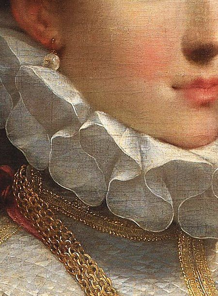 Portrait of a Young Lady, detail, by Federico Barocci, ca 1600.