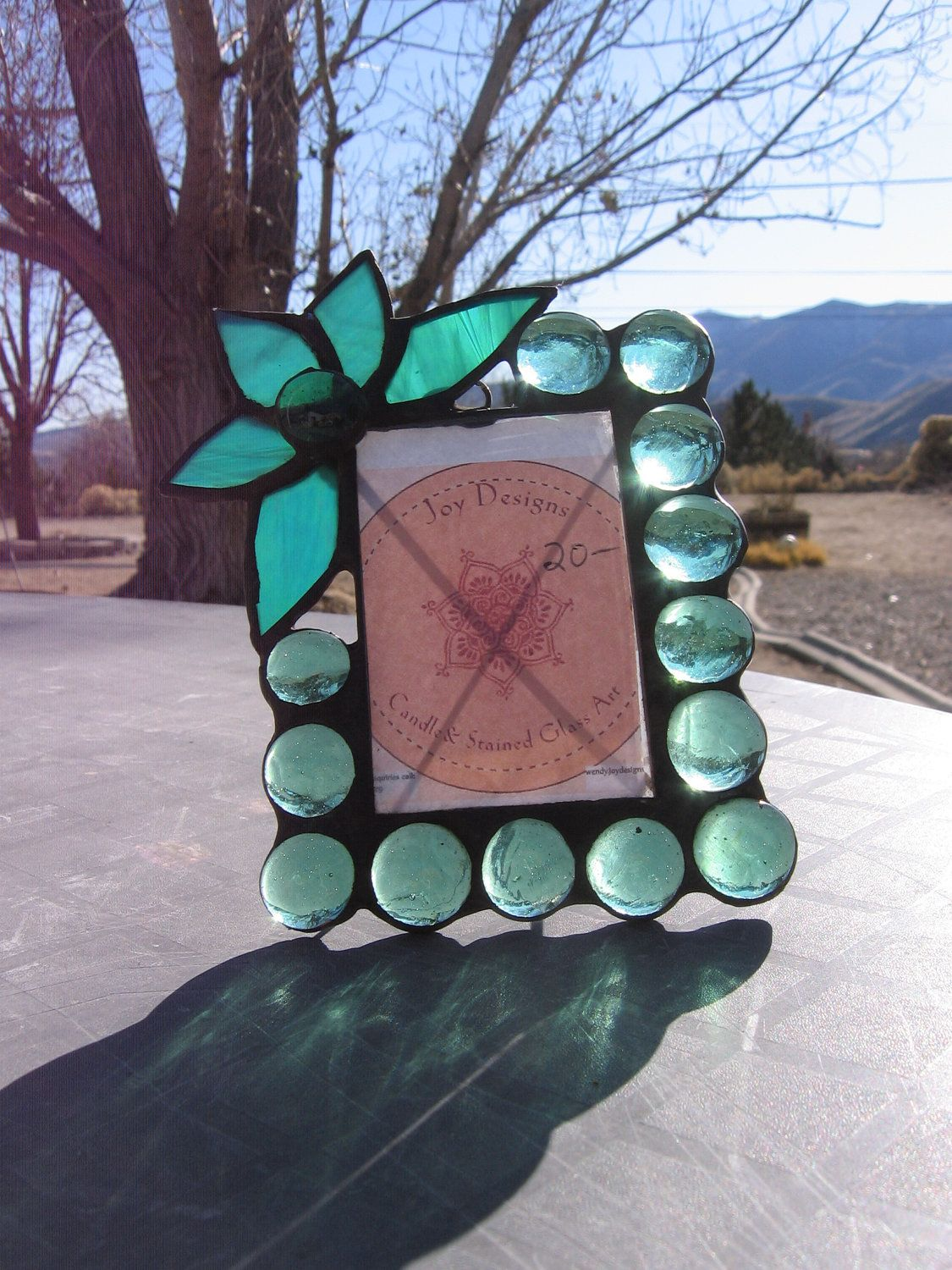 Items similar to ON SALE Stained Glass Picture Frame - Green Glass Cabochon With Flower Embellishment on Etsy