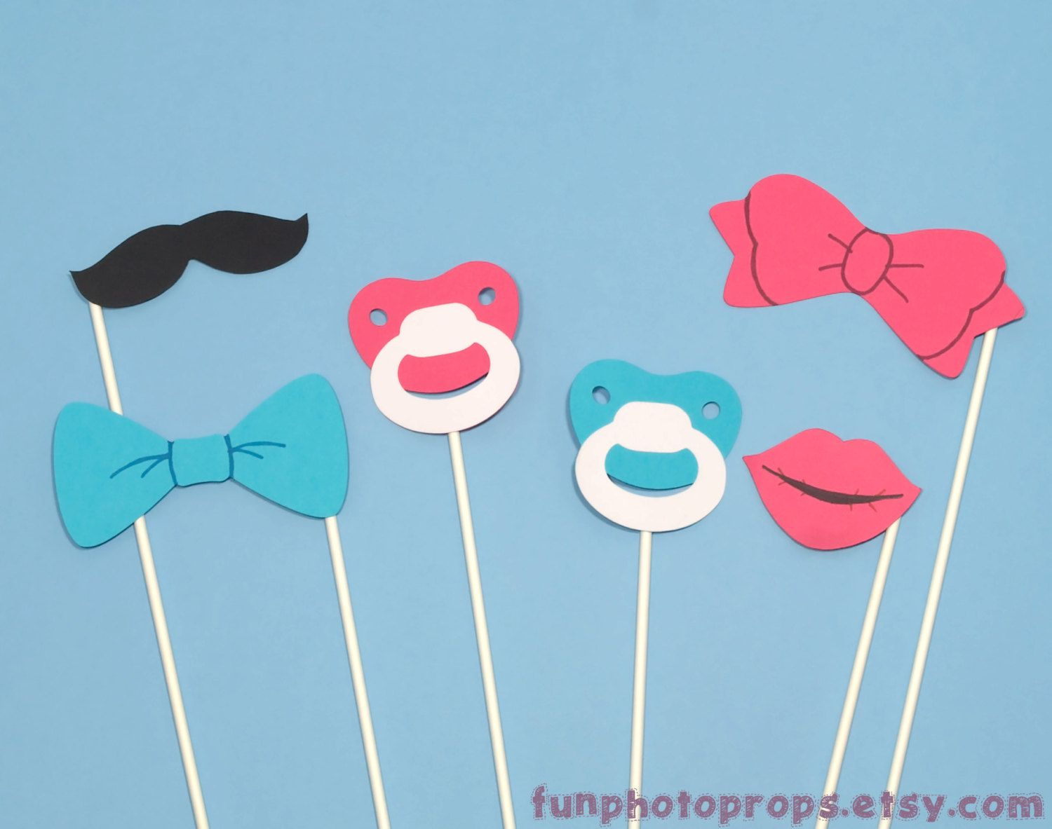 Photo Booth Prop Set 6 Piece Gender Reveal By Funphotoprops 1295