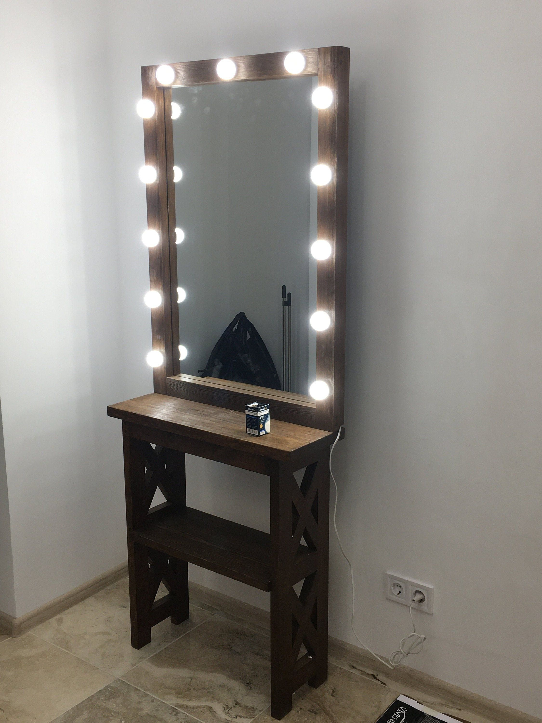 Vanity Hollywood Large Lighted Makeup Table With Mirror Etsy Diy Lights