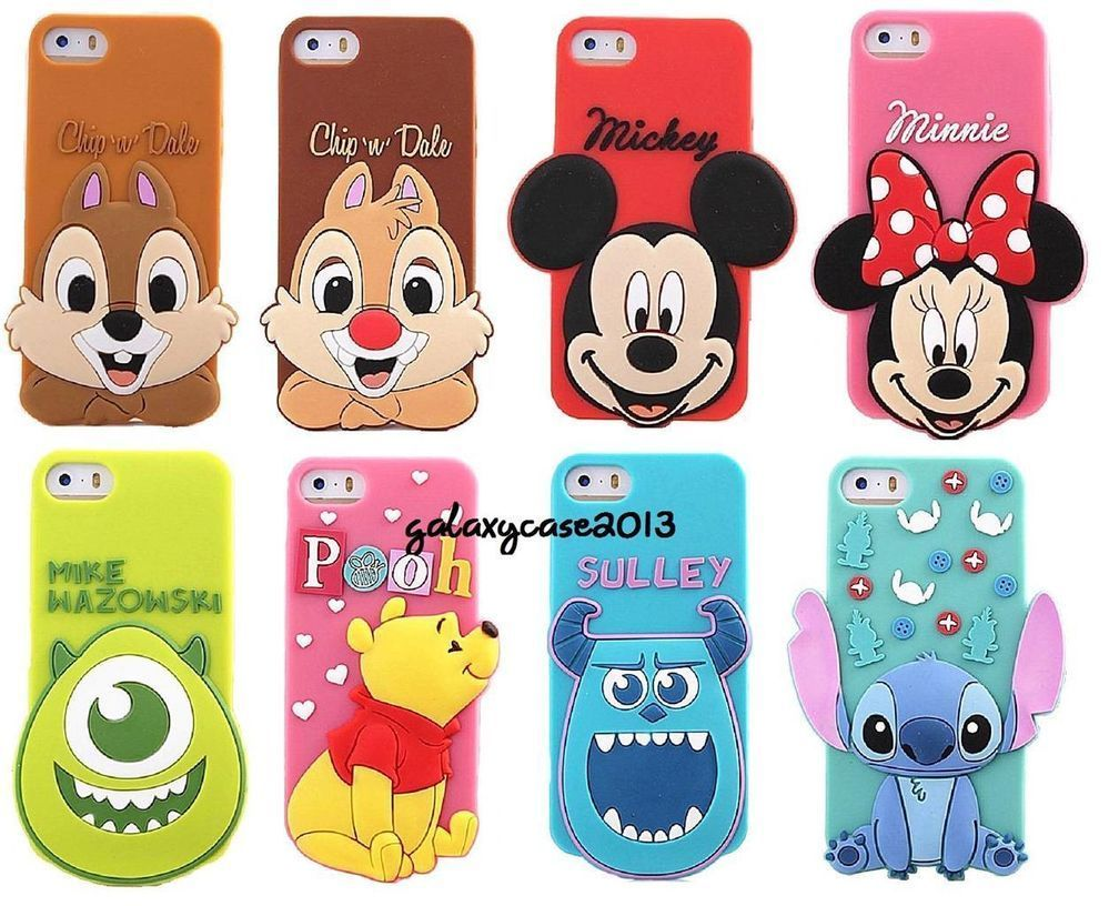 3D Disney Cartoon Big Head Silicone Soft Back Full Case Cover For ...