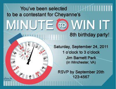 Minute To Win It Birthday Invite Birthday Parties