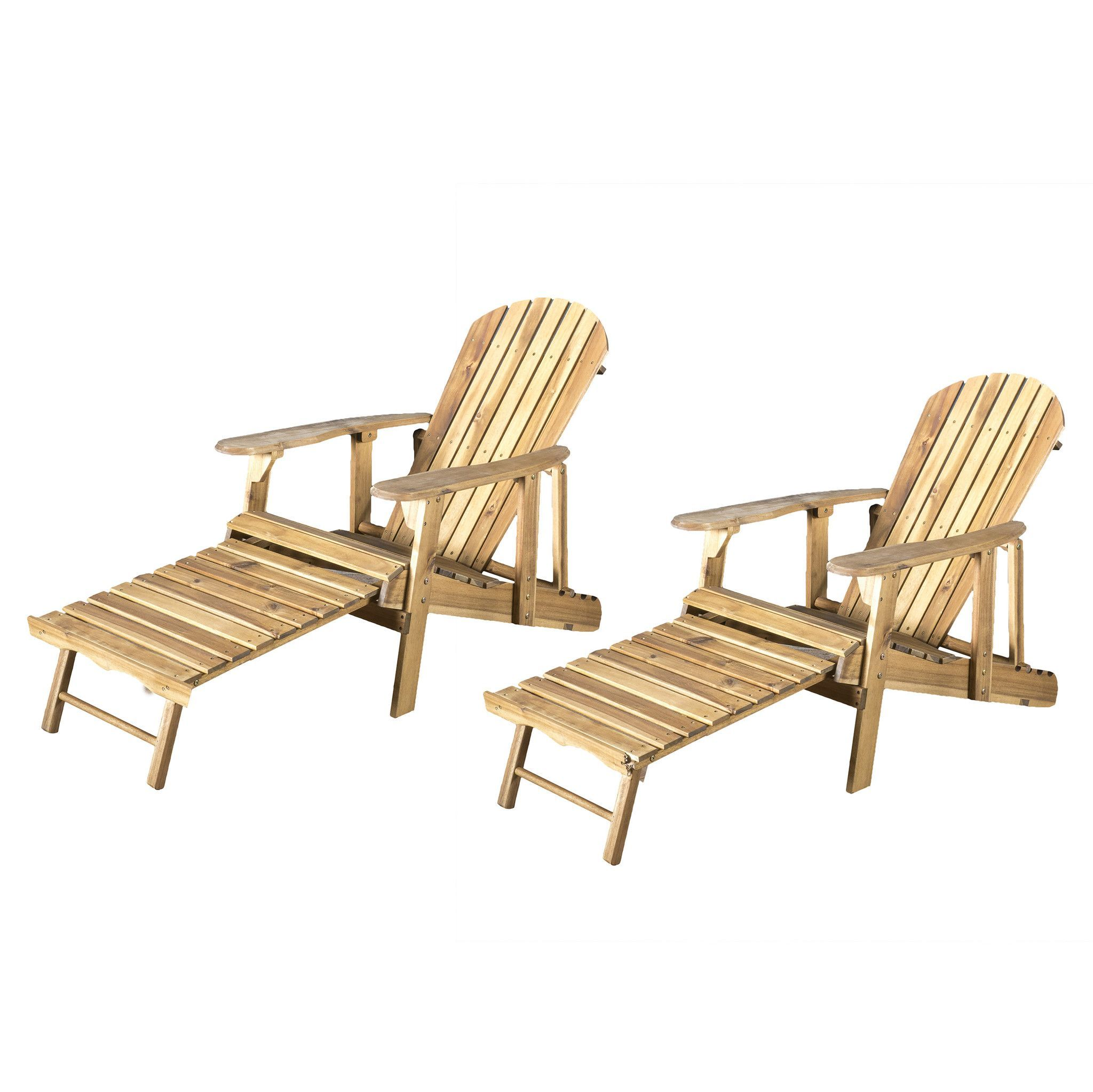 Katherine Outdoor Reclining Wood Adirondack Chair With Footrest Set Of 2 Products Wood Adirondack Chairs Recliner Outdoor Chairs