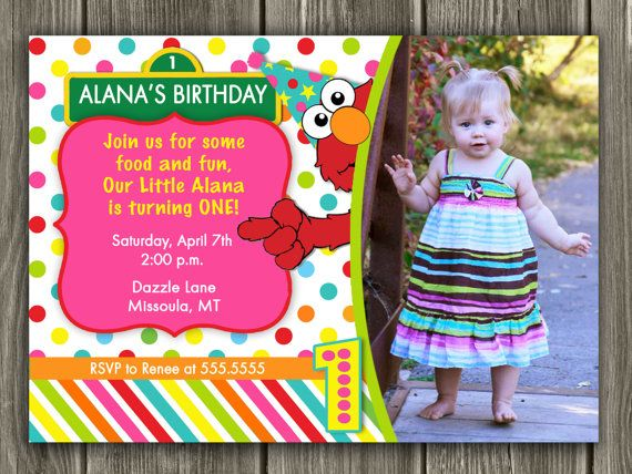 Inspired Elmo Birthday Invitation Free Thank You Card Included