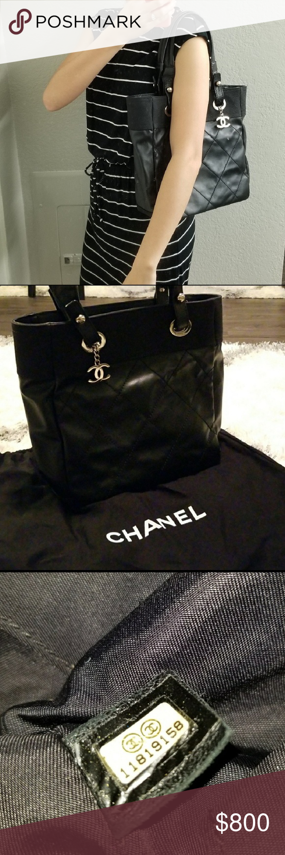 ef1d1e03706d Chanel Small Paris-Biarritz Tote Black quilted coated canvas Chanel Medium  Paris-Biarritz tote