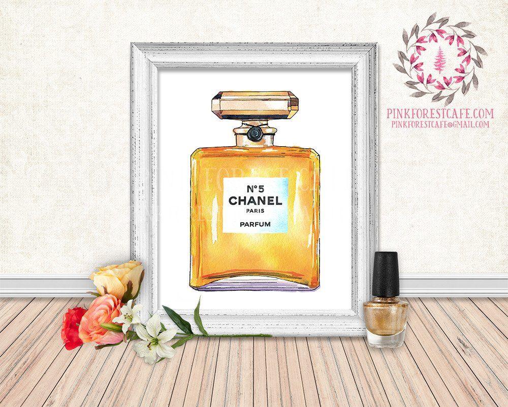 Chanel No 5 Perfume Bottle Watercolor Printable Wall Art Fashion ...