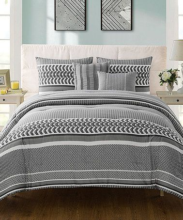 Another great find on #zulily! Gray Marcus Five-Piece Comforter Set #zulilyfinds