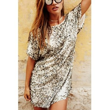 USD9.99Casual Round Neck Short Sleeves Sequined Decorative Mini Dress