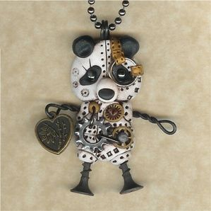 Steampunk Panda Robot With Good Luck Heart Charm Necklace Polymer Clay Jewelry