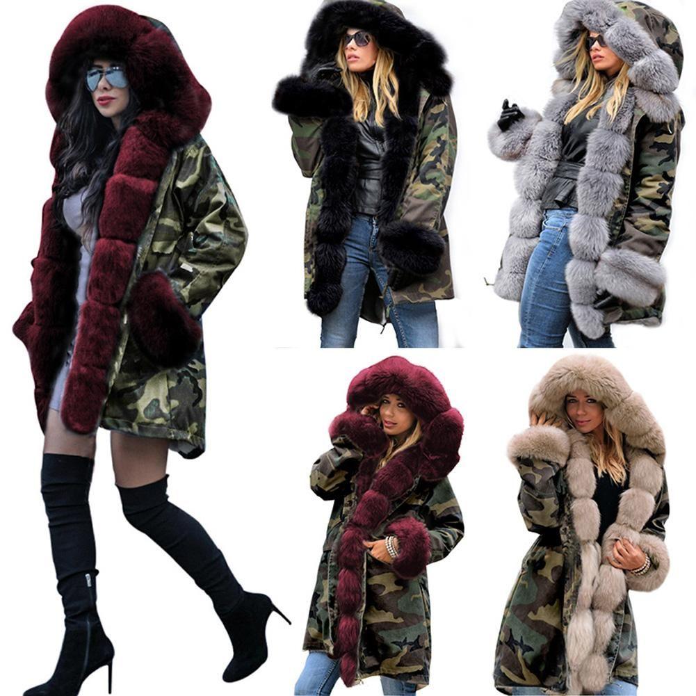 d5f1d27f6a96 2019 Slim Warm Women'S Camouflage Jacket Long Faux Fur Collar Hooded Winter  Coat Cotton Fashion Windbreaker Coat From Hilllin1989, $37.59 | DHgate.Com