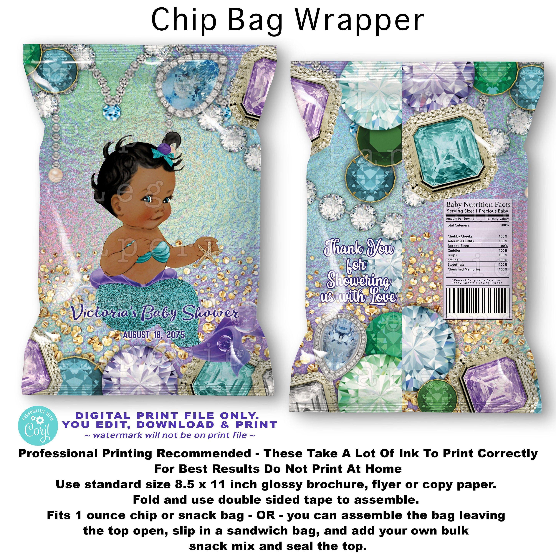 Girl Baby Shower Purple Silver Gold White Printable Potato Chip Bags Heaven Sent Angel Favor Bags