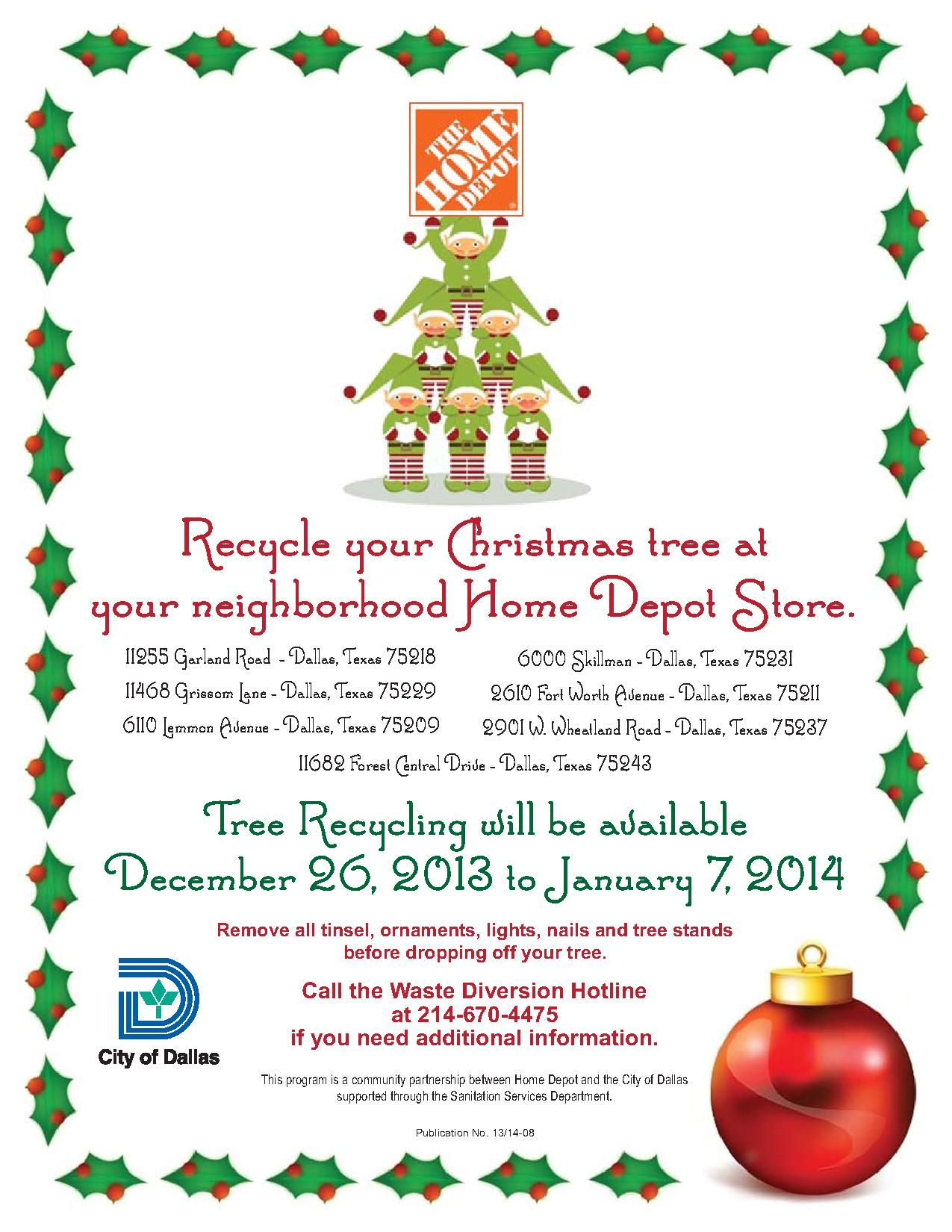 It Doesn T Matter Where You Bought It This Year Recycle Your Live Christmas Tree At Any Home Depot Live Christmas Trees Dallas Neighborhoods Home Depot Store