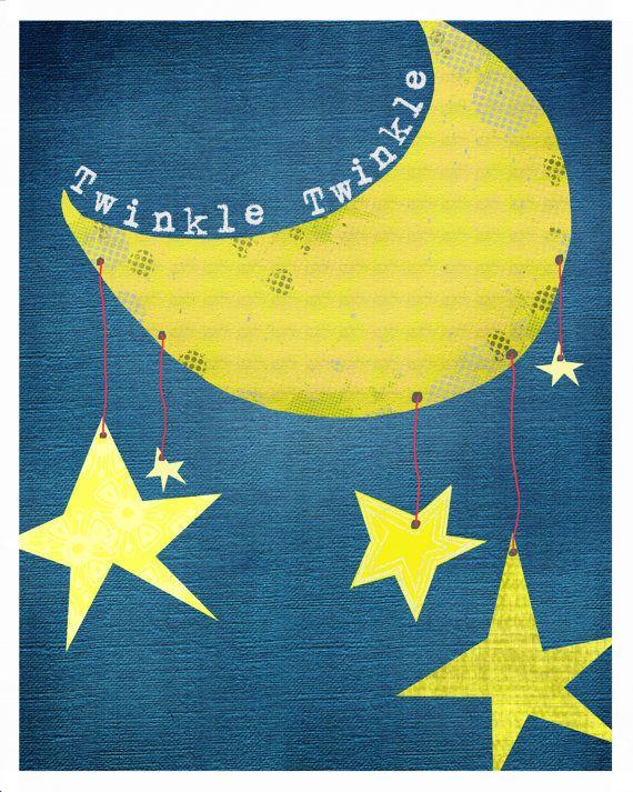 Kids Wall Art Twinkle Twinkle Little Star, Nursery Rhyme Print ...