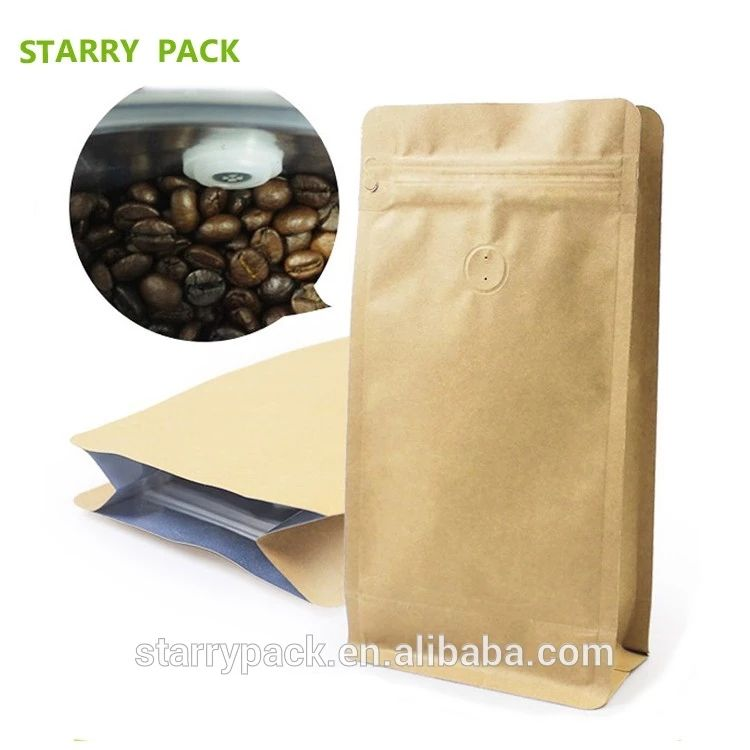 Square Bottom Kraft Paper Bag Flat Bottom Kraft Coffee Bag With Ziplock View Kraft Paper Bag Product Details From Shenzhen Starry Package Co Limited On Ali Coffee Bag Coffee Kraft Paper