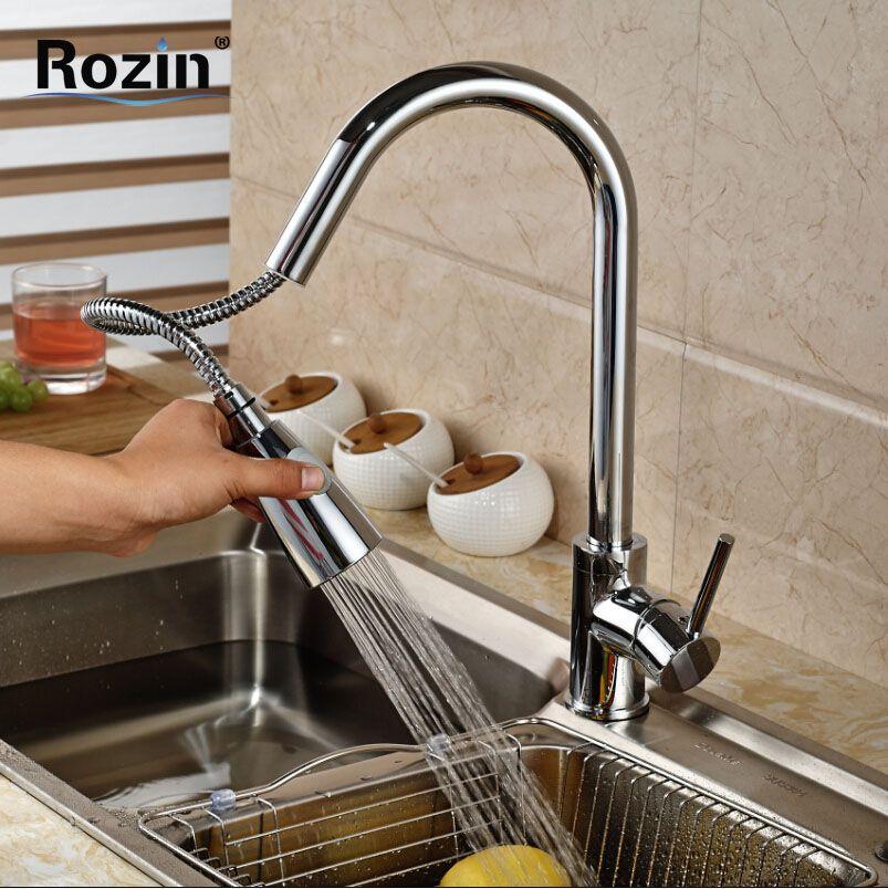 Single Handles Pull Out Spout Kitchen Sink Faucet Deck Mount Brass