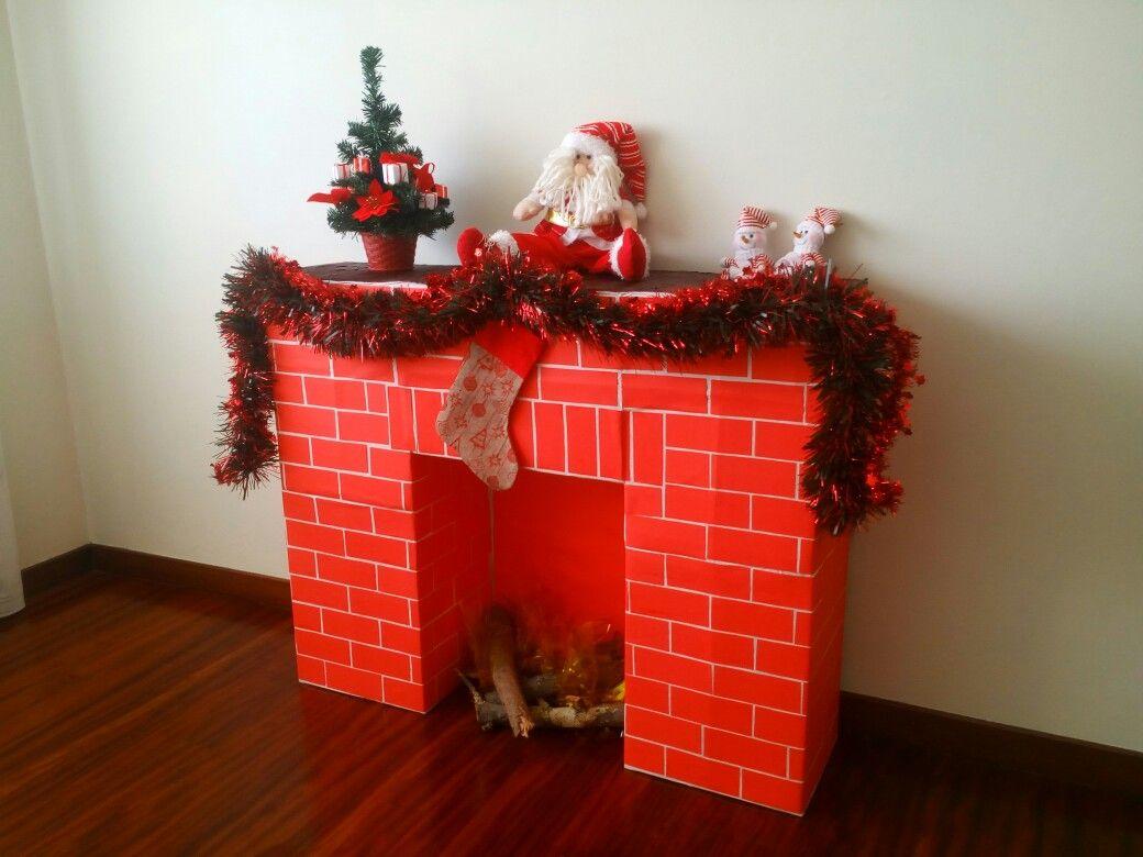 Chimenea de navidad hecha con cajas de carton chimenea - Cajas de carton de navidad ...