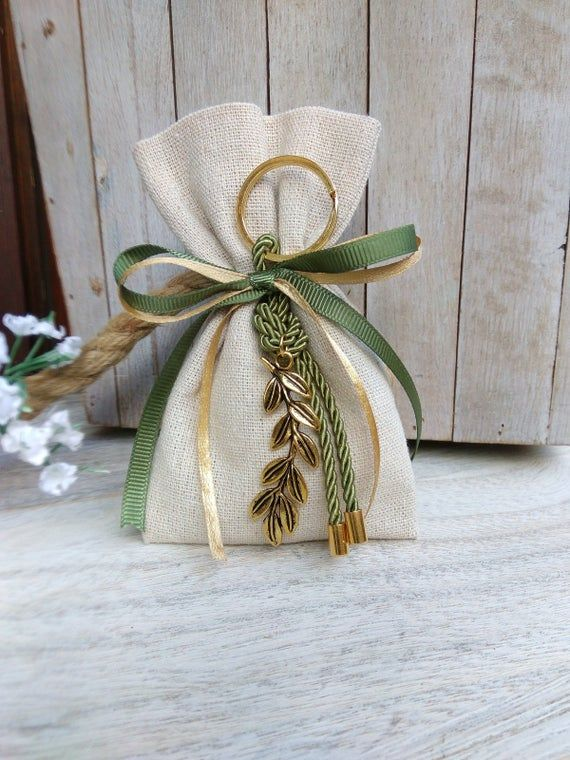 25 pcs Olive branch favor-Linen Bag Favor-koufeta