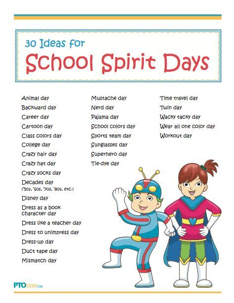 Fun And Simple Ideas For Celebrating School Spirit Days Pta
