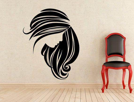 Beauté Salon Stickers beauté fille Barbershop mur Vinyl Stickers ...