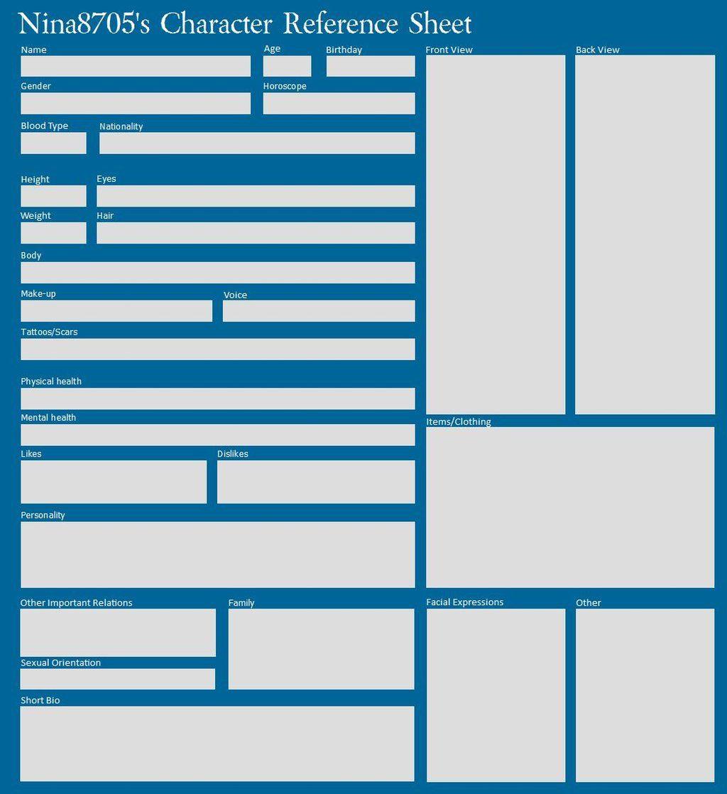 Character information sheet - Blank Character Reference Sheet By Nina8705 On Deviantart