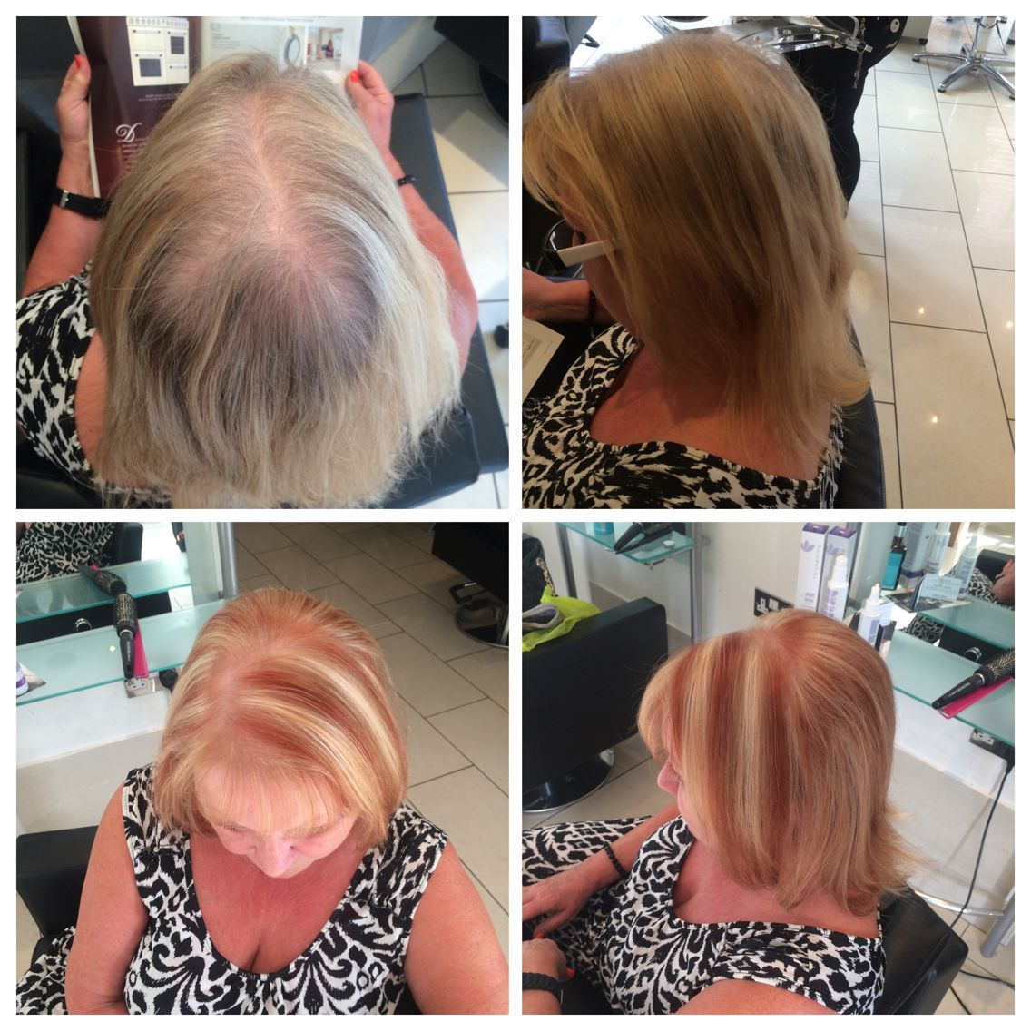 Full head of sliced highlights with a tint in between and to finish with a smooth blowdry