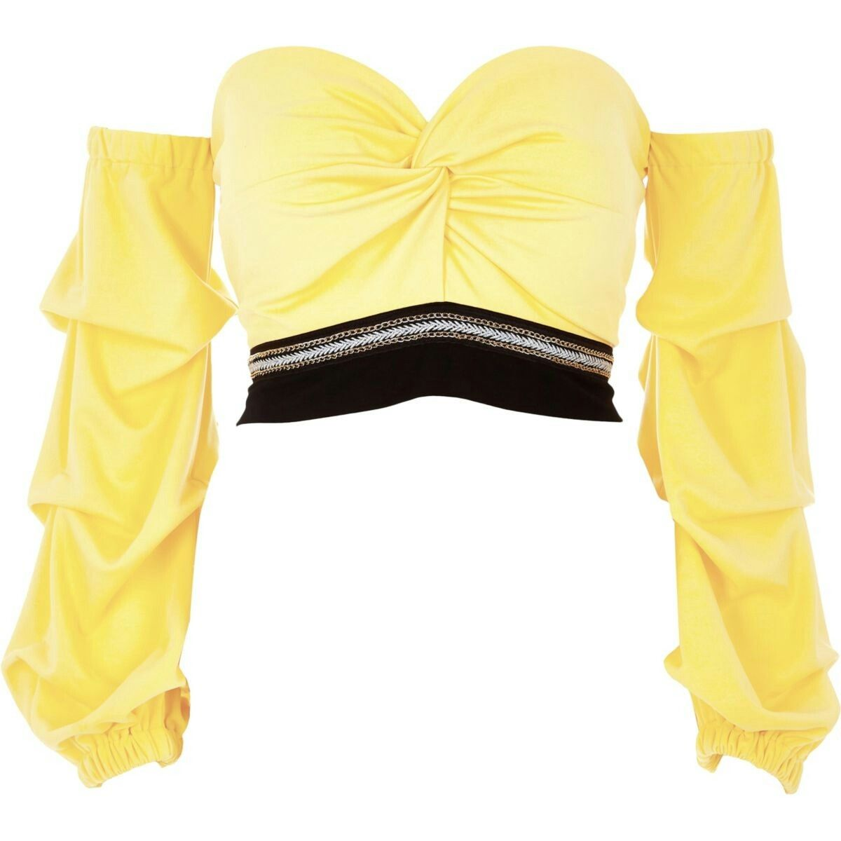 Petite yellow bardot ruche sleeve crop top | Looks casuais