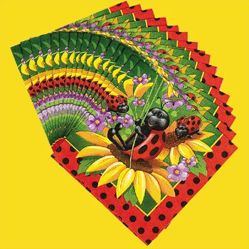 Ladybug Serviettes (16).  Add these fun ladybug & flower designed servittes to your themed table.  These are fun!   Packet of 16