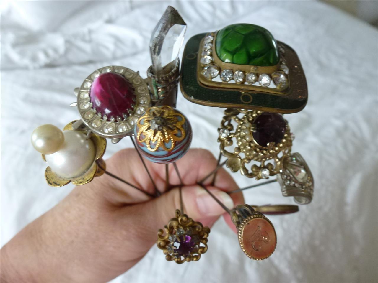 6f415ee28053f Details about 9 Antique & Victorian Hat Pins Hatpins Lot Art 10K ...