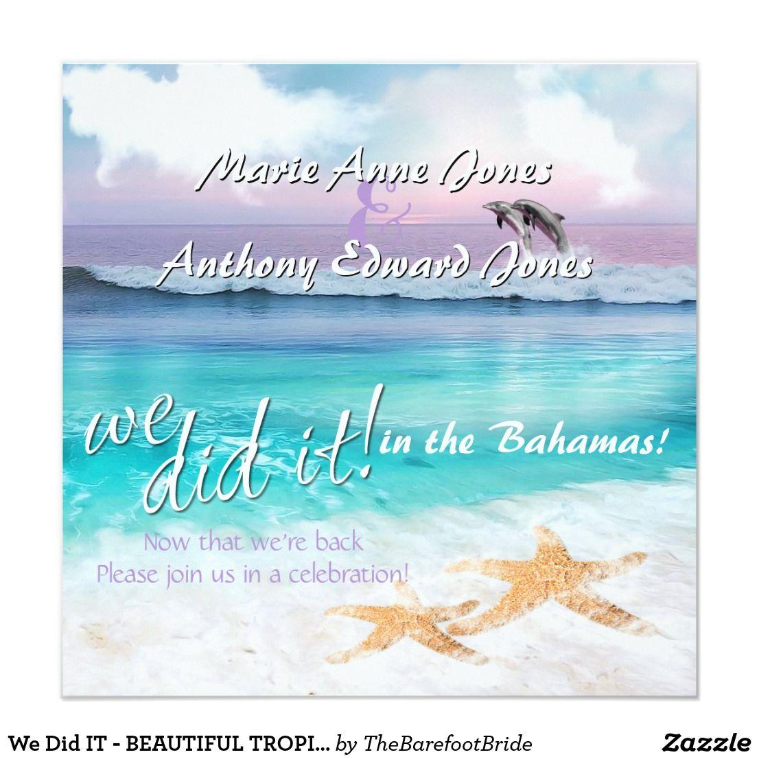We Did IT BEAUTIFUL TROPICAL OCEAN SUNRISE Invitation