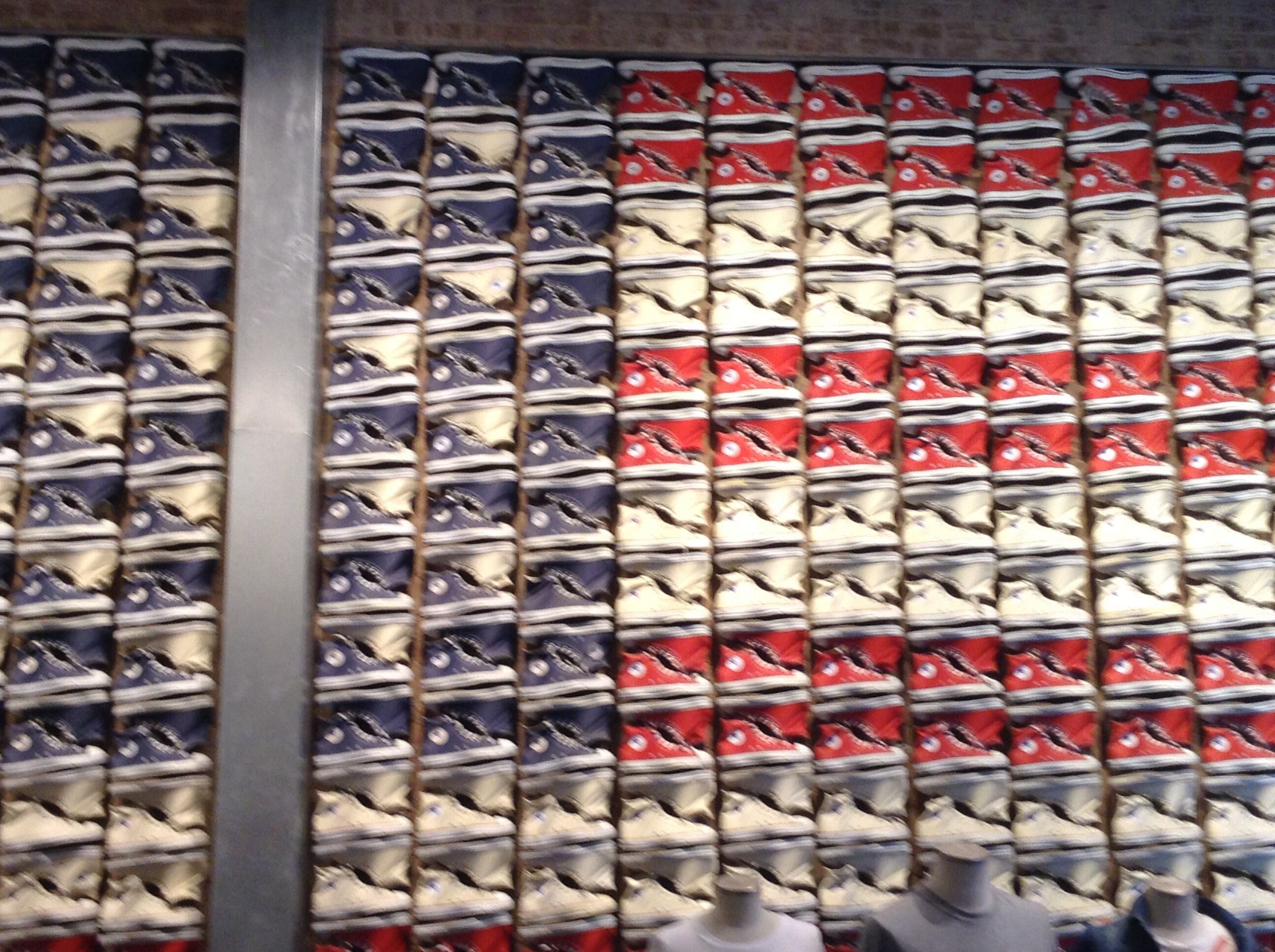 efa139a6aca0 Red white and blue converse made this awesome American flag. Manhattan
