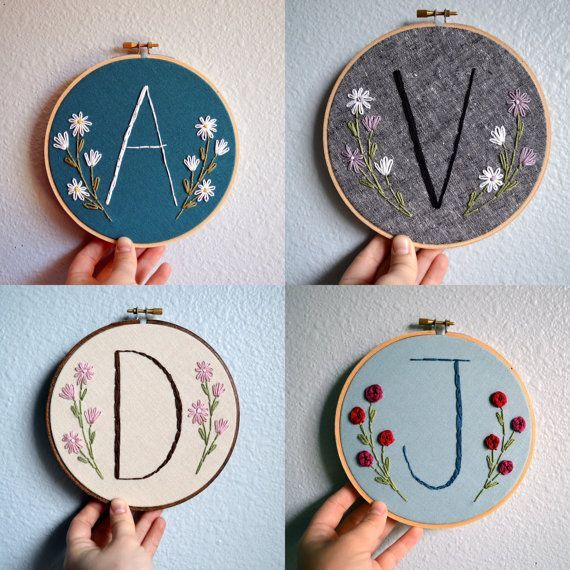 Initial Embroidery Hoop - Nursery Wall Art - Embroidered Hoop Art, Flowers, Custom Monogram, Home Decor, Handmade Sign