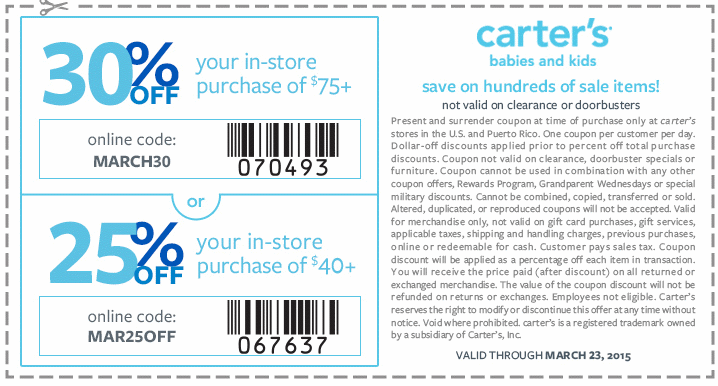 photo relating to Carters Printable Coupons named Carters Printable Discount coupons - Up Toward 30% Off Kohls Printable