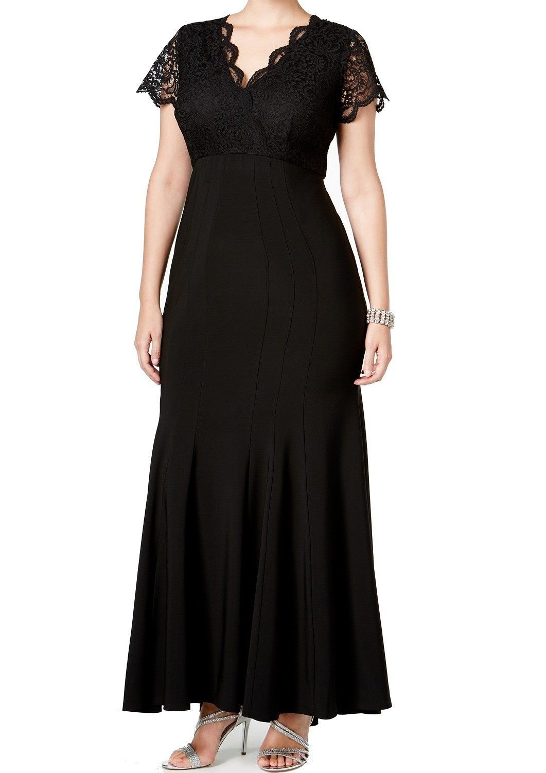 be1f6007a11 Awesome Betsy   Adam NEW Black Womens Size 20W Plus Lace-Trim Ball Gown  Dress