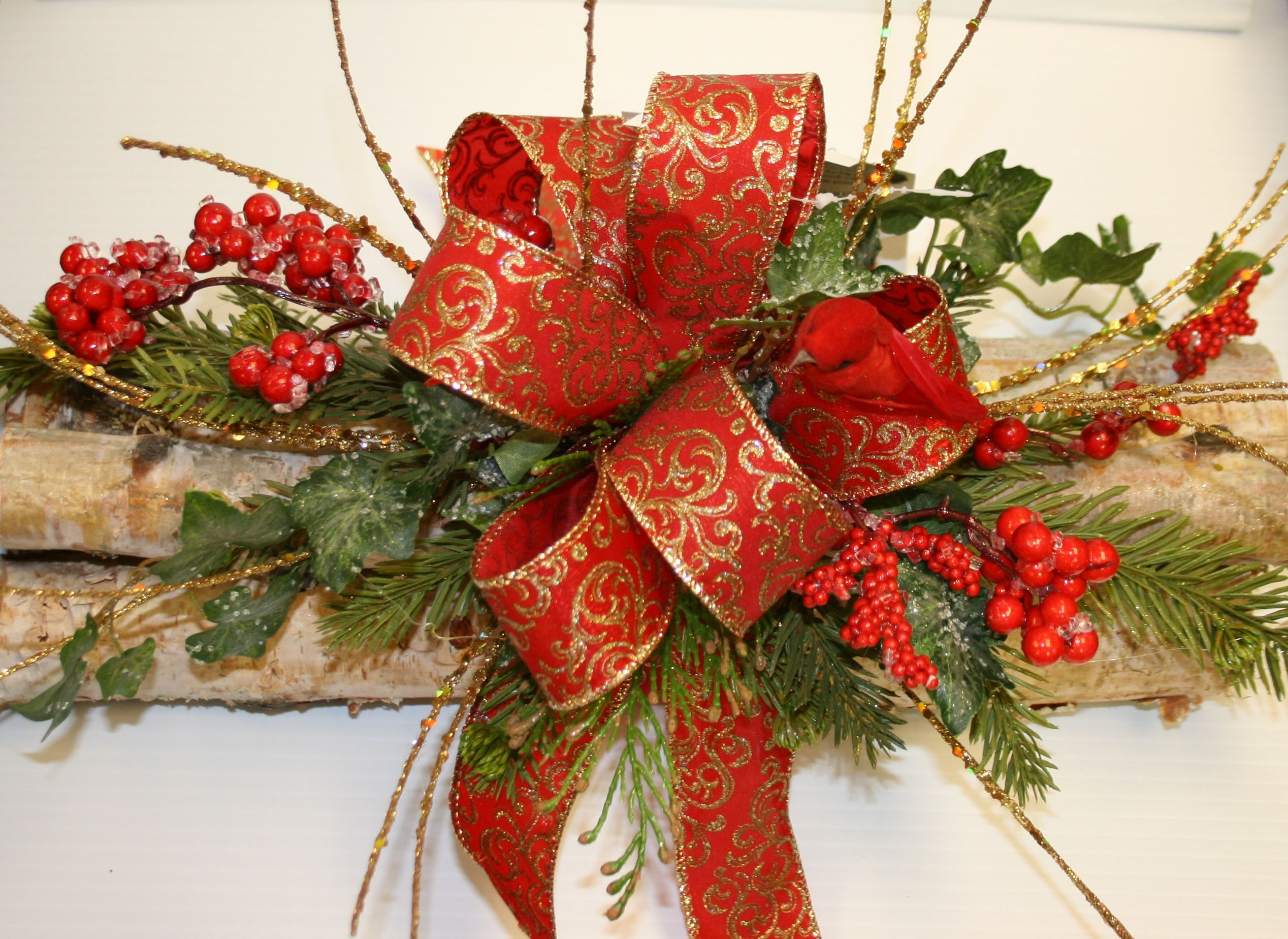 Log Christmas Centerpieces  Designer Made Decorative Yule Logs Make A  Great Centerpiece