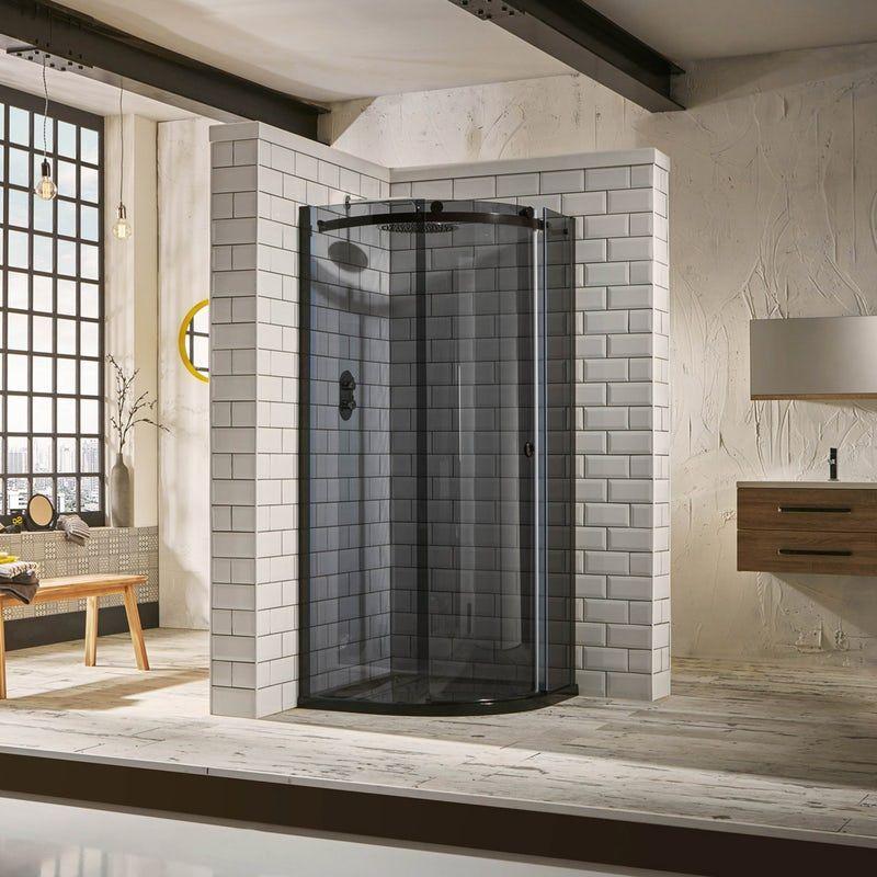 Mode 8mm Luxury Black Right Handed Offset Quadrant Shower