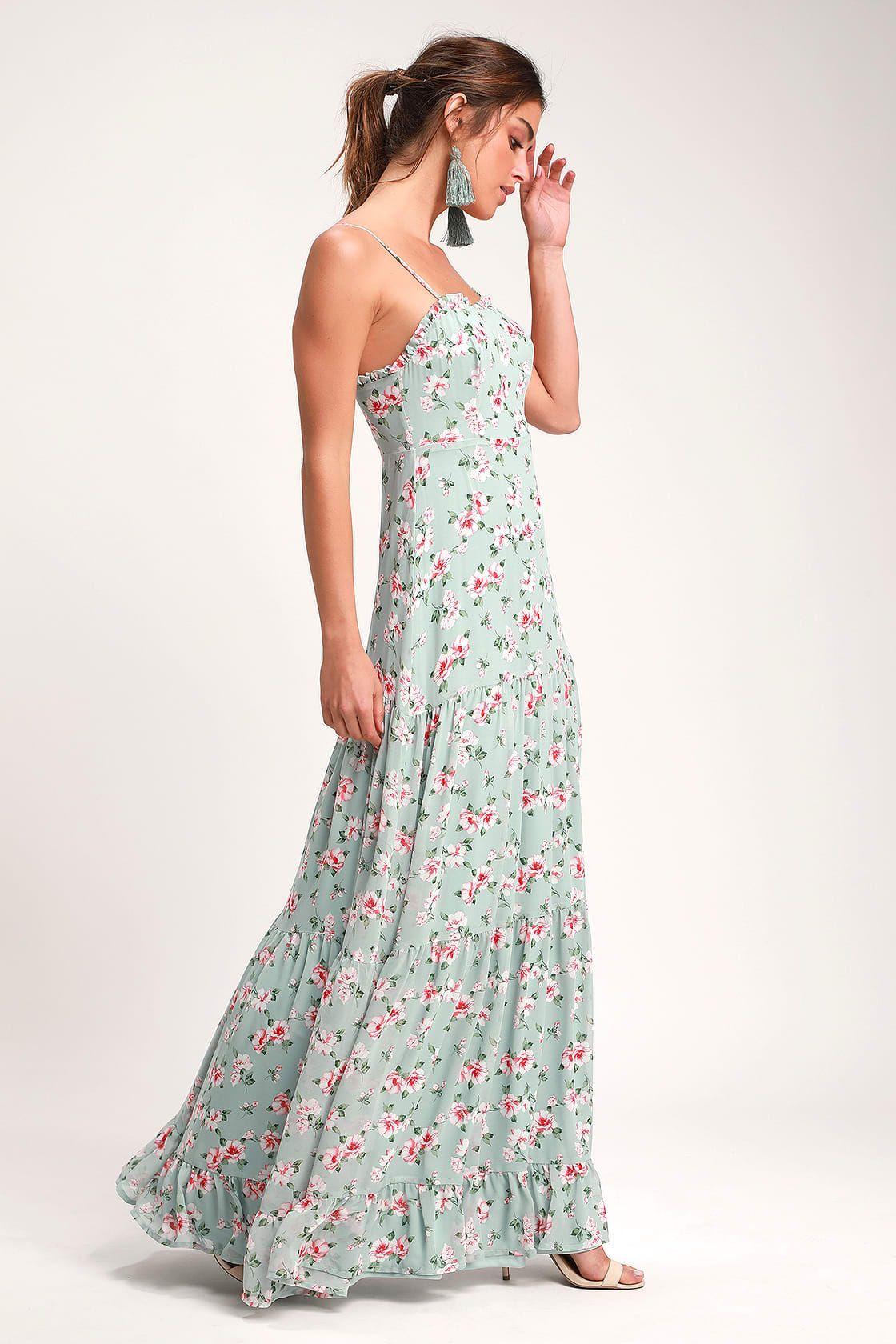 Melissa Light Sage Green Floral Print Tiered Maxi Dress #sagegreendress