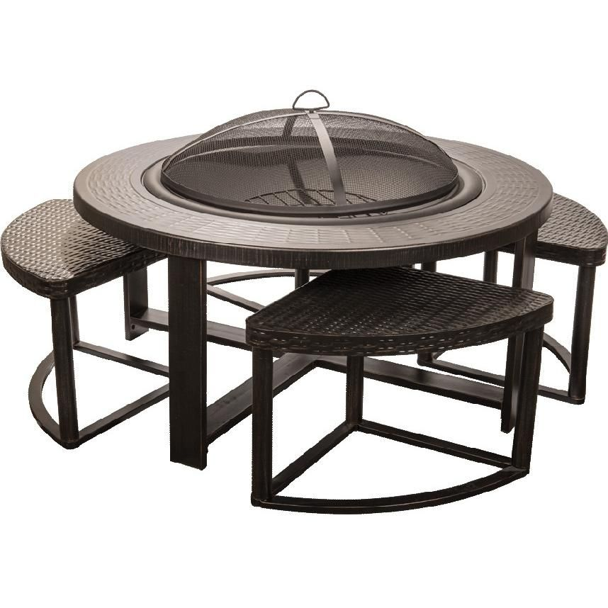 Alpine Flame 42 Inch Cast Aluminum Outdoor Wood Burning Fire Pit With 4  Chairs
