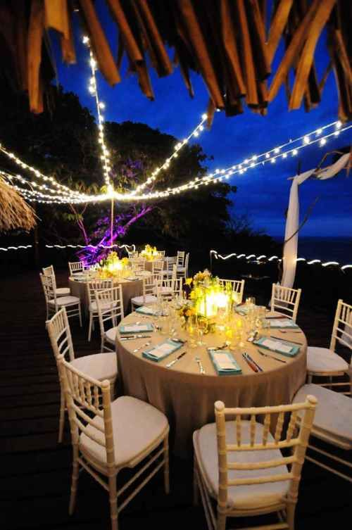 Casas De Las Brisas Beach Reception Wedding Table Setting Blue And Tan Tropical Weddings Costa Rica