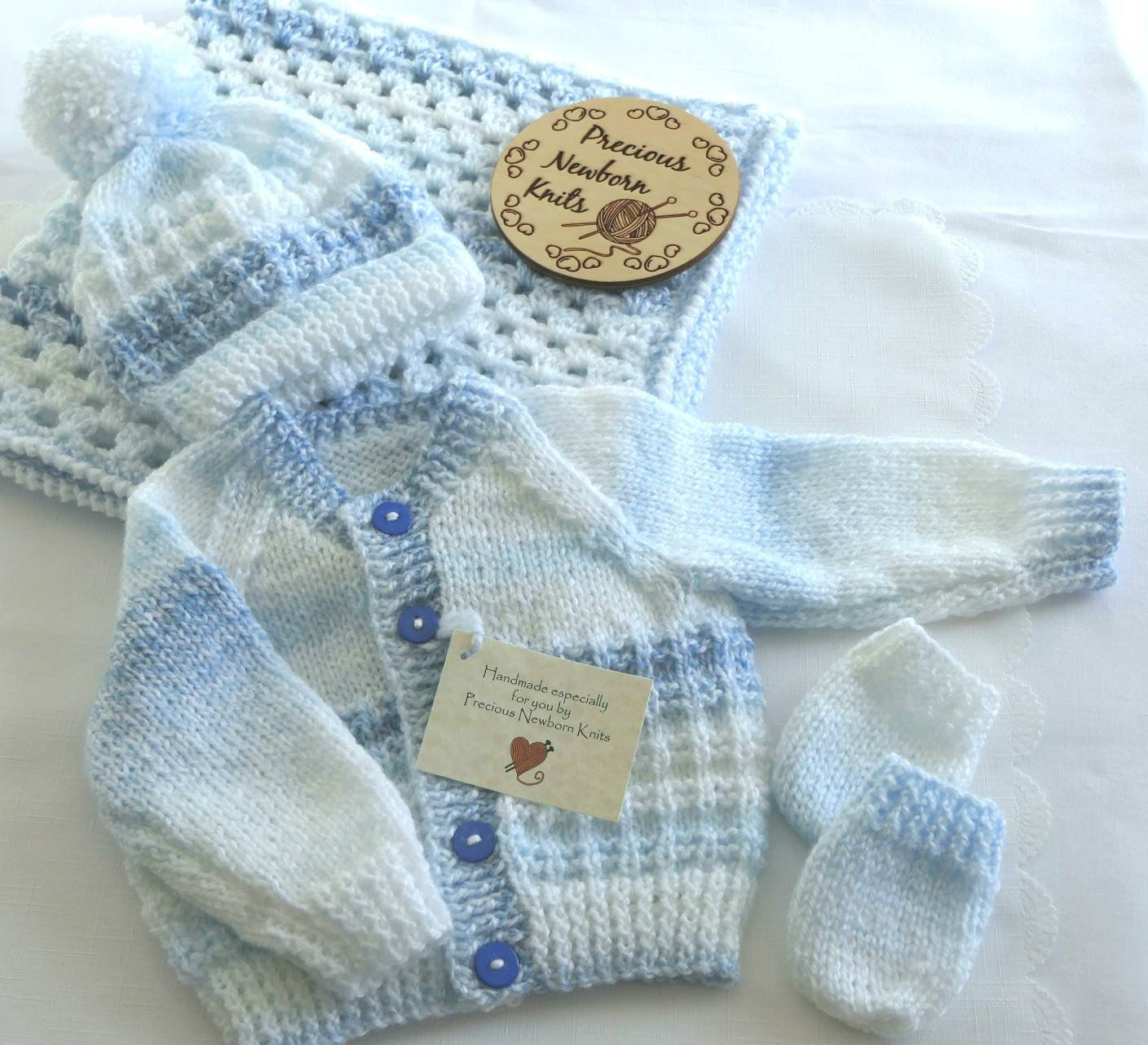 Handmade Crochet Baby Hat booties set blue Grey Newborn 0-3 months