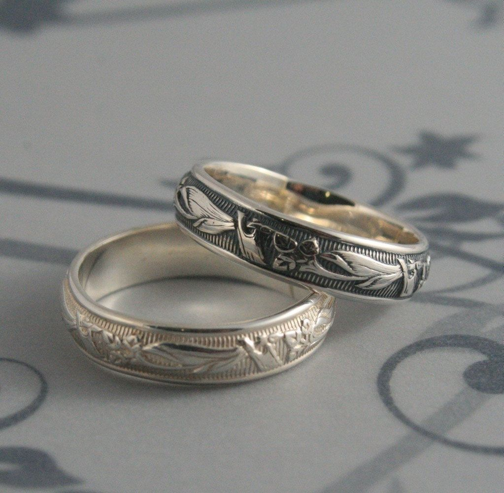 Vintage Style Ring Lily Nouveau Ring Men S Wedding Band Art