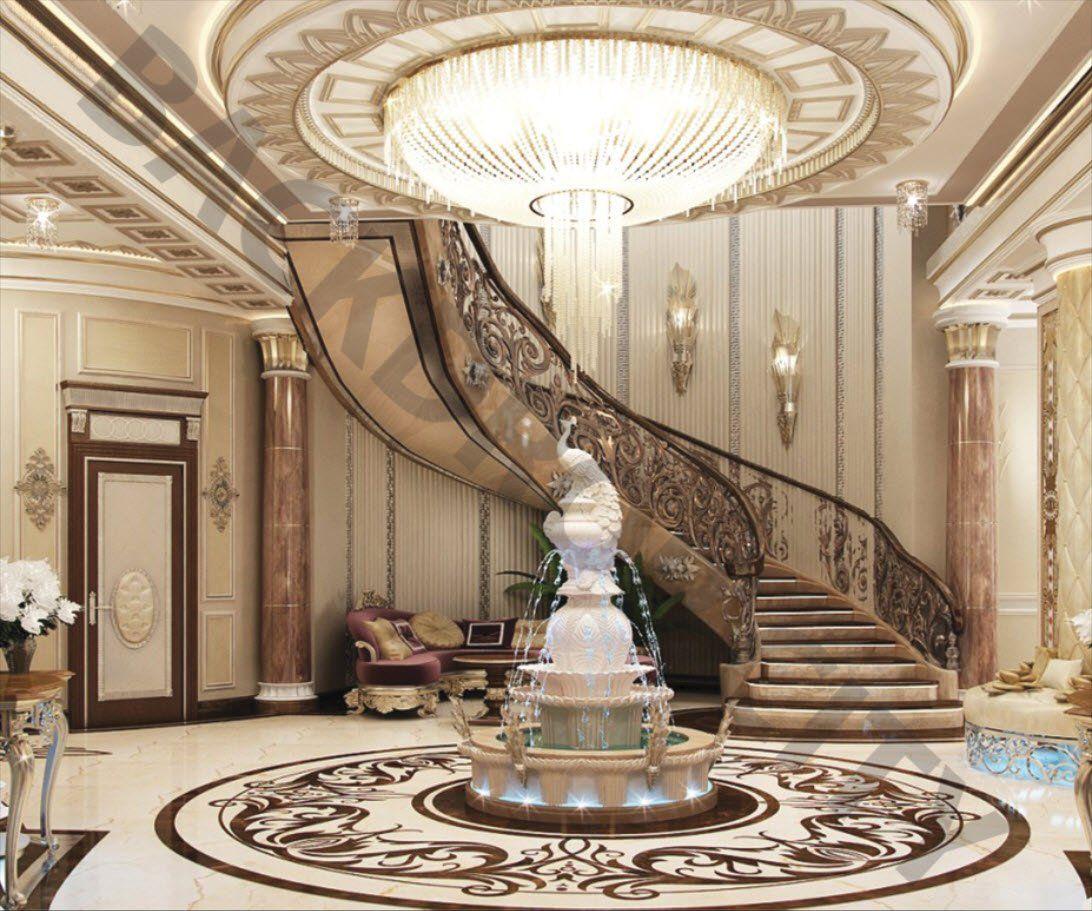 Luxury Foyer Interior Design: Fountain Stair Backdrop