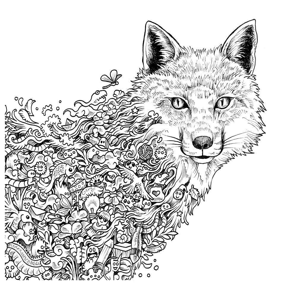 Wolf Invasion Doodle Animorphia Animorphia Coloring Book Fox Coloring Page Animorphia Coloring