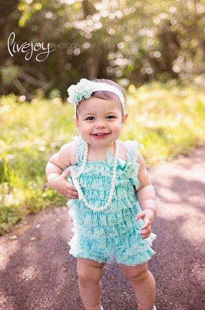 ea63748a7ba Baby girl 1st birthday outfit. Aqua lace romper. Lace baby
