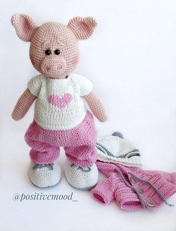 Knitted toy Funny pink Piggy / crochet animal | for kids | Pinterest ...