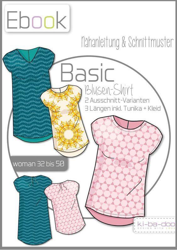 Ebook Basic Blusen-Shirt Damen - Schnittmuster und Anleitung als Pdf Datei, versandkostenfrei! #shirtschnittmuster
