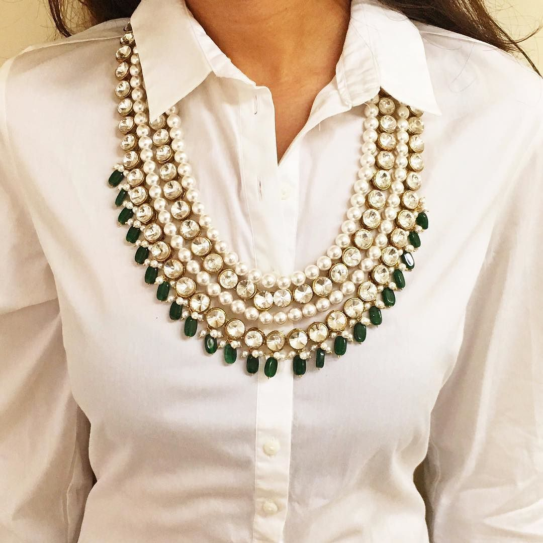 The Western Classic: Our #PearlAndGreenNecklace with a ...