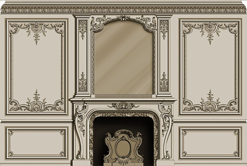 hand carved french style fire mantel and mirror hand carved panels design by agrell. Black Bedroom Furniture Sets. Home Design Ideas