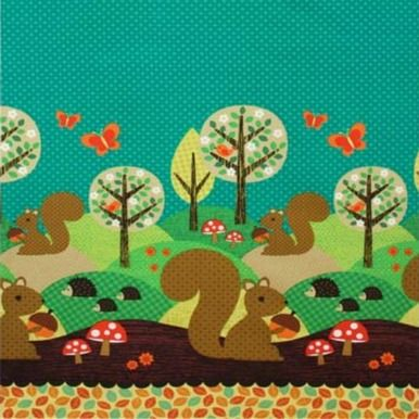 A gorgeous cotton fabric from Michael Miller's 'Norweigan Wood Too' collection called for Nuts for Dinner featuring squirrels and hedgehogs on a blue background.
