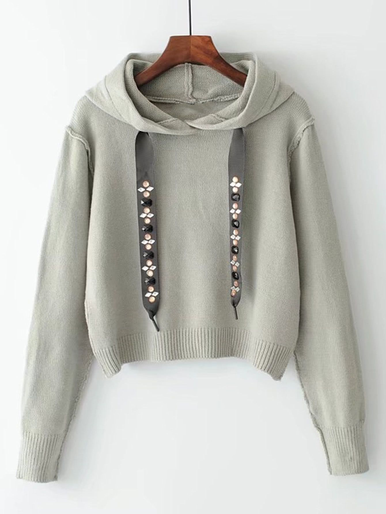 Studded Drawstring Hooded Sweater | Hooded sweater, Shopping and ...